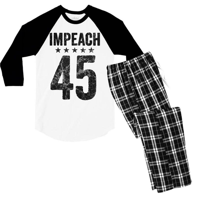 Impeach 45   Anti Trump Men's 3/4 Sleeve Pajama Set | Artistshot