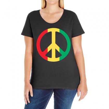 Peace Ladies Curvy T-shirt Designed By Black White