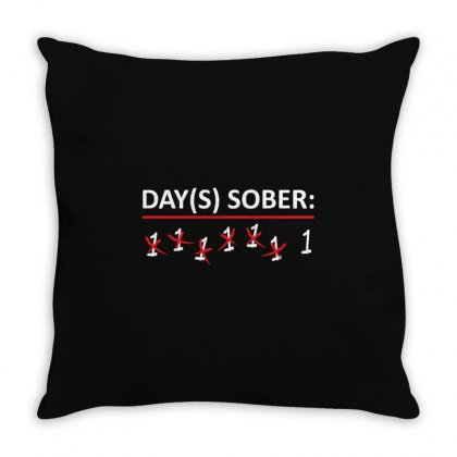 Days Sober Throw Pillow Designed By Mdk Art
