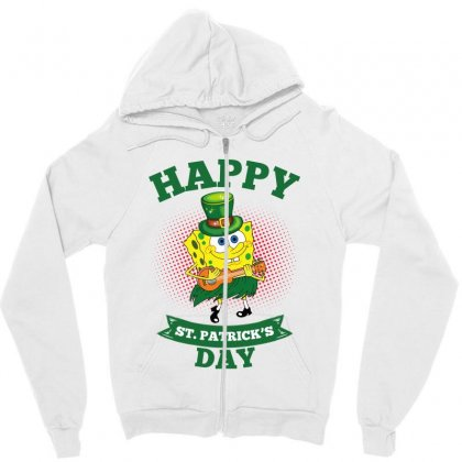 Spongebob St Patrick Day Zipper Hoodie Designed By Sengul