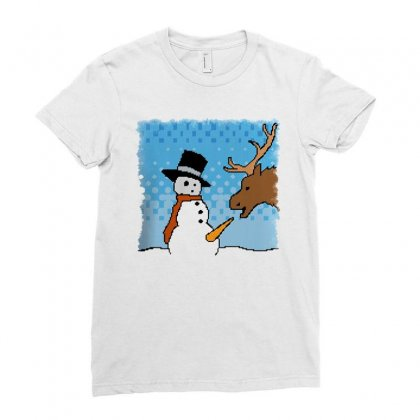 Snowman Treat Ladies Fitted T-shirt Designed By Bertaria