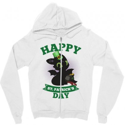 Happy St Patricks Day Toothless Zipper Hoodie Designed By Sengul