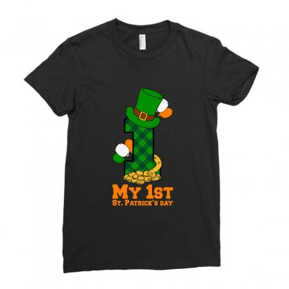 My First St Patrick's Day For Dark Ladies Fitted T-shirt Designed By Nurbetulk