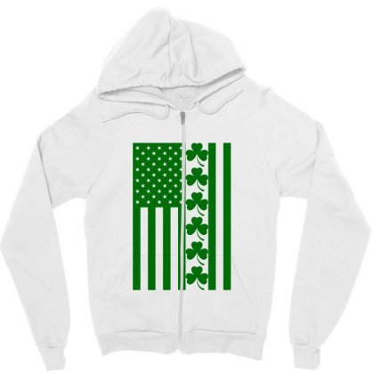 St Patrick's Day American Flag For Light Zipper Hoodie Designed By Nurbetulk