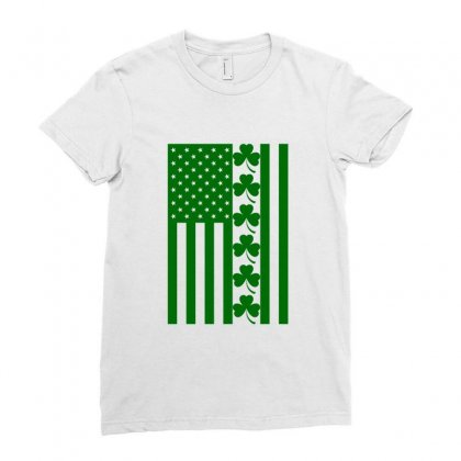 St Patrick's Day American Flag For Light Ladies Fitted T-shirt Designed By Nurbetulk