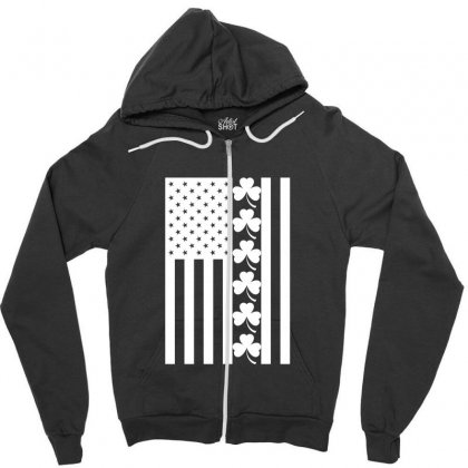 St Patrick's Day American Flag For Dark Zipper Hoodie Designed By Nurbetulk