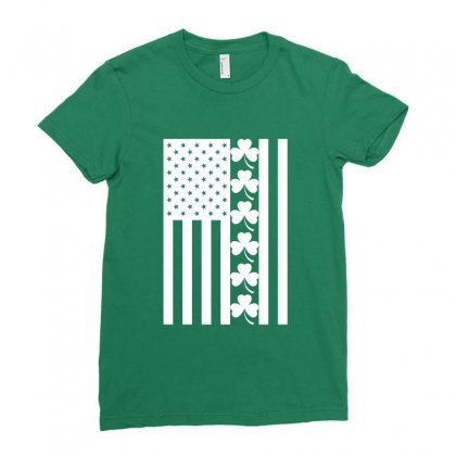 St Patrick's Day American Flag For Dark Ladies Fitted T-shirt Designed By Nurbetulk