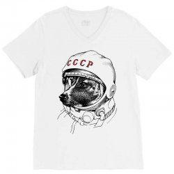 CCCP - Laika the Space Dogs V-Neck Tee | Artistshot