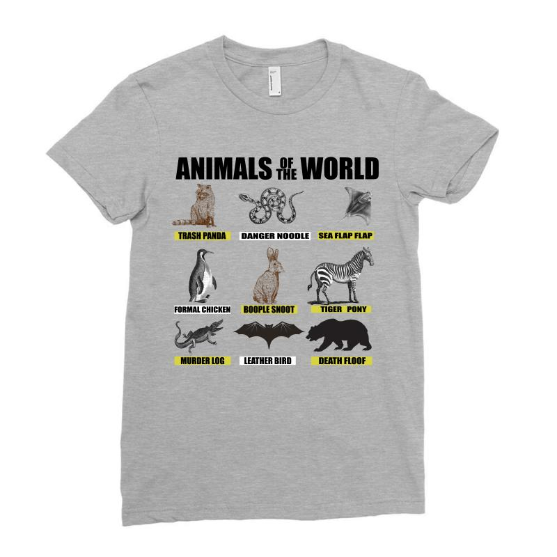 67a5c6fc Custom Animals Of The World Ladies Fitted T-shirt By Omer Acar - Artistshot