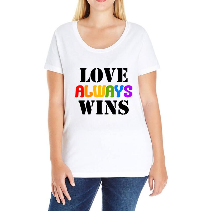 Custom Love Always Wins For Light Ladies Curvy T Shirt By Nurbetulk