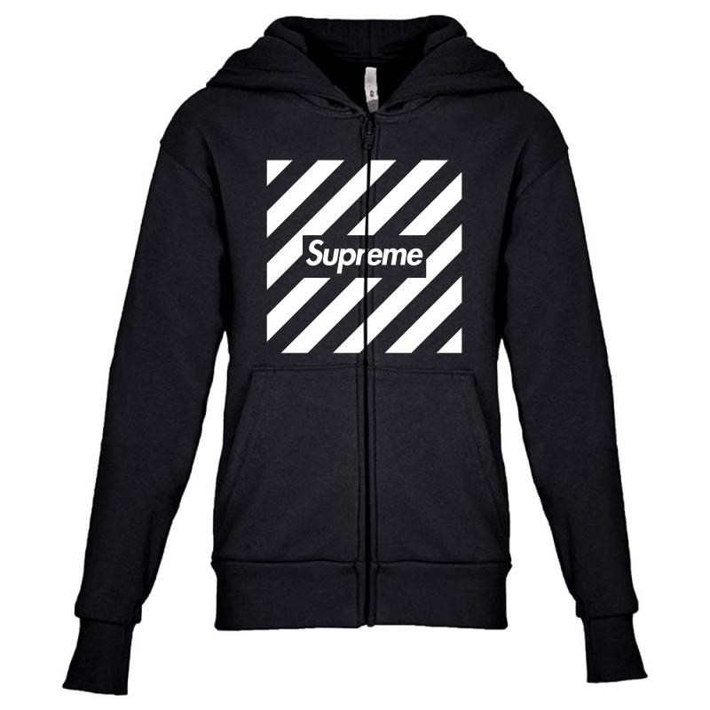 fc870c29a14 Custom Supreme Off White Youth Zipper Hoodie By Toweroflandrose ...