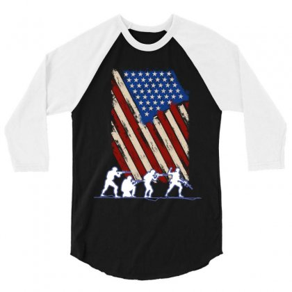 United State Flag 3/4 Sleeve Shirt Designed By Wizarts