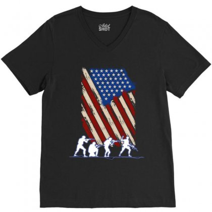 United State Flag V-neck Tee Designed By Wizarts