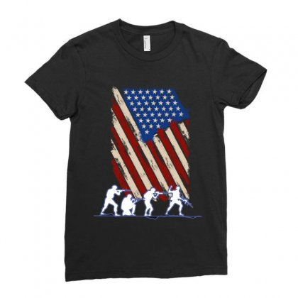 United State Flag Ladies Fitted T-shirt Designed By Wizarts