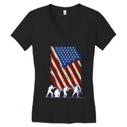 United State Flag Women's V-neck T-shirt Designed By Wizarts