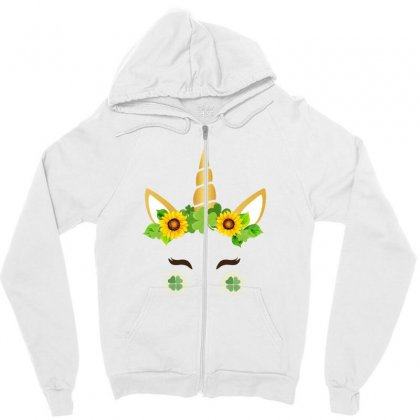 St Patrick's Unicorn Face Zipper Hoodie Designed By Party