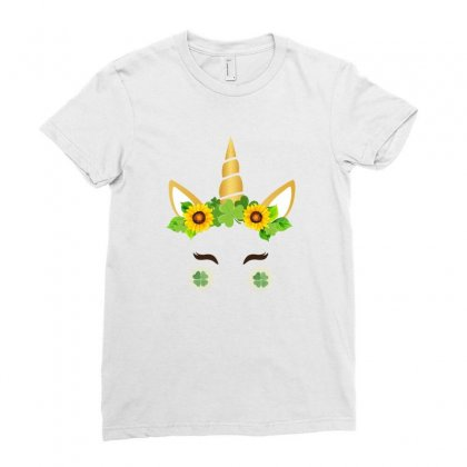 St Patrick's Unicorn Face Ladies Fitted T-shirt Designed By Party