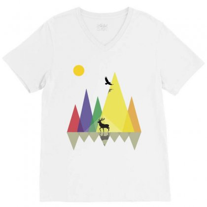 Wild Mountains Landscape Geometric V-neck Tee Designed By Party