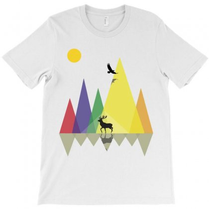 Wild Mountains Landscape Geometric T-shirt Designed By Party