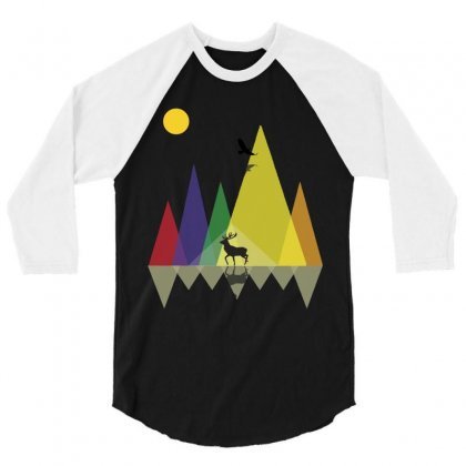 Wild Mountains Landscape Geometric 3/4 Sleeve Shirt Designed By Party