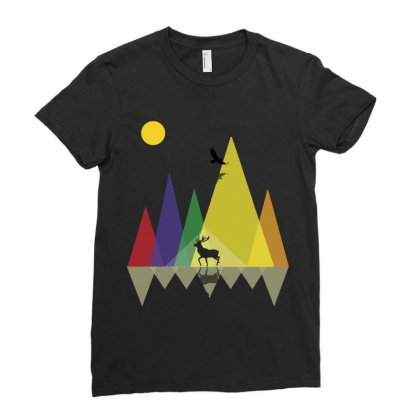 Wild Mountains Landscape Geometric Ladies Fitted T-shirt Designed By Party