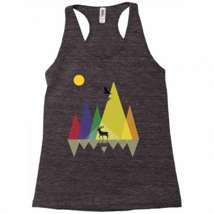 Wild Mountains Landscape Geometric Racerback Tank Designed By Party