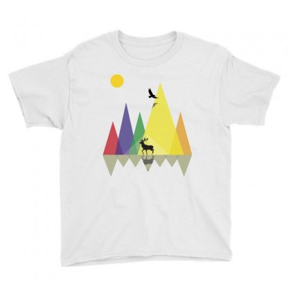 Wild Mountains Landscape Geometric Youth Tee Designed By Party