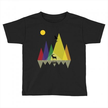 Wild Mountains Landscape Geometric Toddler T-shirt Designed By Party