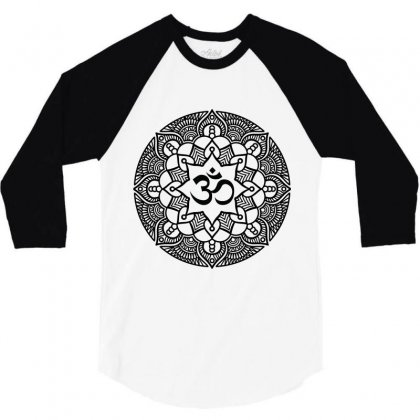 Ohm Yoga Mandala 3/4 Sleeve Shirt Designed By Party