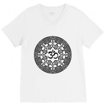 Ohm Yoga Mandala V-neck Tee Designed By Party
