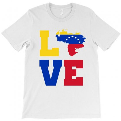 Love Venezuela Map Tricolor T-shirt Designed By Party