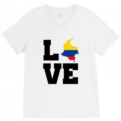 love Colombia map flag V-Neck Tee | Artistshot