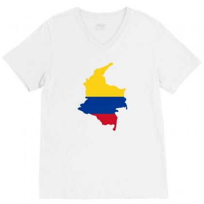 Colombia Map Flag V-neck Tee Designed By Party