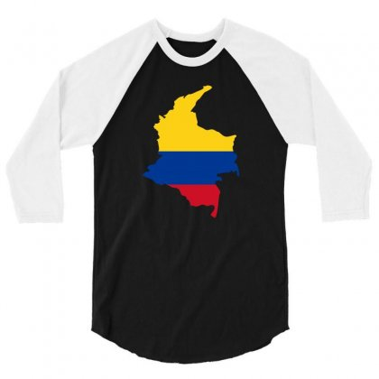 Colombia Map Flag 3/4 Sleeve Shirt Designed By Party