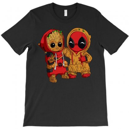 Deadpool And Baby Groot T-shirt Designed By Omer Acar