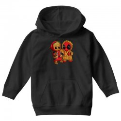 Deadpool and baby Groot Youth Hoodie | Artistshot