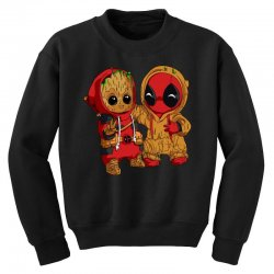 Deadpool and baby Groot Youth Sweatshirt | Artistshot