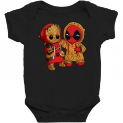 Deadpool and baby Groot Baby Bodysuit | Artistshot
