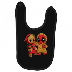 Deadpool and baby Groot Baby Bibs | Artistshot