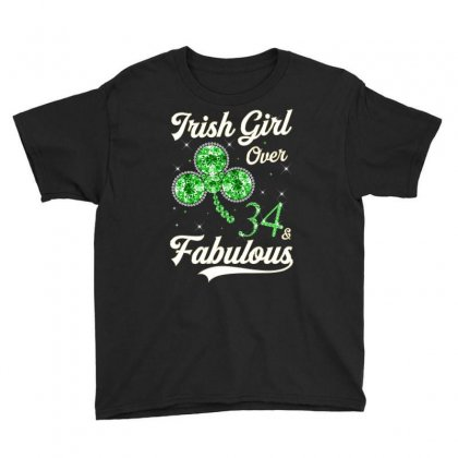 Irish Girl Over 34 And Fabulous With Shamrock Youth Tee Designed By Artees Artwork