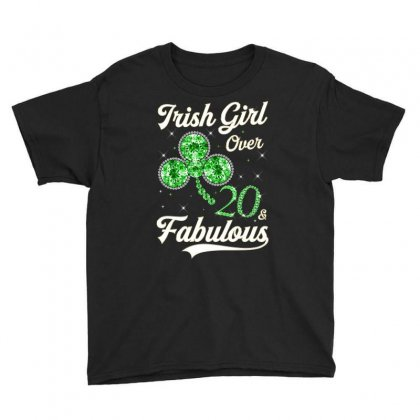 Irish Girl Over 20 And Fabulous With Shamrock Youth Tee Designed By Artees Artwork