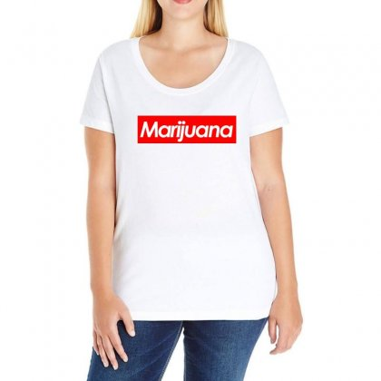 Marijuana Supreme Ladies Curvy T-shirt Designed By Black White
