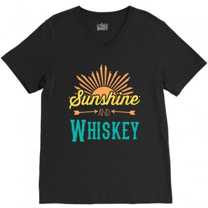 Sunshine And Whiskey V-neck Tee Designed By Gooseiant