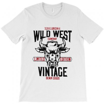 Wild West Vintage Denim T-shirt Designed By Vanode Art