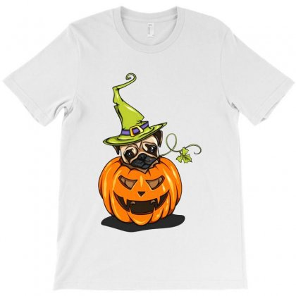 Pumpkin Pug T-shirt Designed By Vanode Art