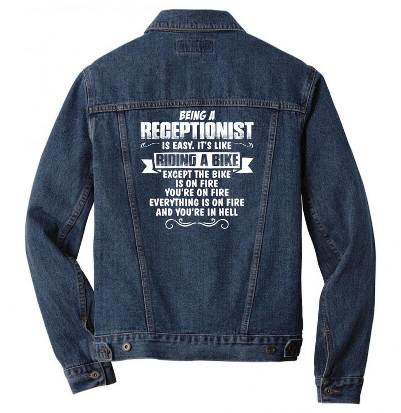 Being A Receptionist Men Denim Jacket | Artistshot