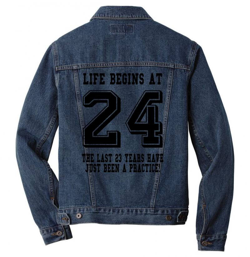 24th Birthday Life Begins At 24 Men Denim Jacket | Artistshot