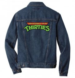 funny birthday shirt i'm actually in my thirties raglan 30th 30 years old gift idea for him or her years old Men Denim Jacket | Artistshot