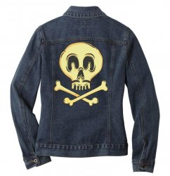 funny skull mustache Ladies Denim Jacket | Artistshot