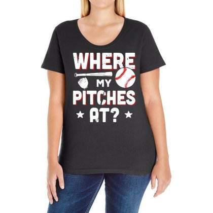 Where My Pitches Ladies Curvy T-shirt Designed By Vanode Art
